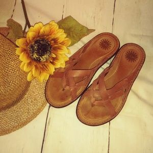 Women's UGG Brown Leather Sandles 8W